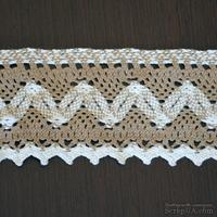 Кружево х/б, вязаное, цвет бело-бежевый (серый), ширина 8.5 см, длина 90 см