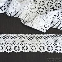 Кружево х/б, вязаное, цвет белый, ширина 6.5 см, длина 90 см