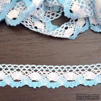 Кружево х/б, вязаное, цвет бело-голубой, ширина 2.5 см, длина 90 см