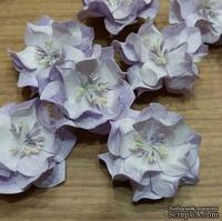Набор бумажных цветов - Гардении от Scrap Klumba, волнистые, бело-фиолетовые, 5 шт., диаметр 4 см