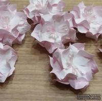 Набор бумажных цветов - Гардении от Scrap Klumba, бело-розовые, 6 шт., диаметр 4 см