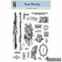Набор акриловых штампов HOTP - Noteworthy Stamp, размер 14х17,8 см, 24 шт.