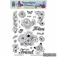 Набор акриловых штампов HOTP - Serendipity Flower, размер 15,2х20,3 см, 20 шт.