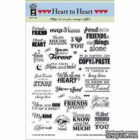 Набор акриловых штампов HOTP - Heart to Heart Greetings, размер 15,2х20,3 см, 33 шт.