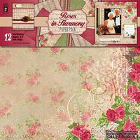 Набор скрапбумаги HOTP - Roses Harmony Paper Pack, 12 листов, размер 30х30 см