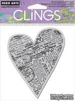 Резиновый штамп Hero Arts - Newspaper Heart, c оснасткой