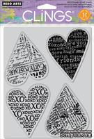 Набор резиновых штампов Hero Arts - Four Hearts, c оснасткой