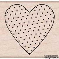 Резиновый штамп Hero Arts - Polka Dot Heart , на деревянном блоке - ScrapUA.com