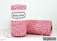 Хлопковый шнур от Divine Twine - Peppermint, 1 мм, цвет розовый/белый/красный, 1м