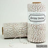Хлопковый шнур от Divine Twine - Brown Sugar, 1 мм, цвет коричневый/белый, 1м
