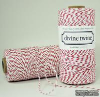 Хлопковый шнур от Divine Twine - Cherry, 1 мм, цвет красный/белый, 1м