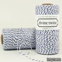 Хлопковый шнур от Divine Twine - Blueberry, 1 мм, цвет голубой/белый, 1м