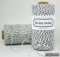 Хлопковый шнур от Divine Twine - Black Licorice, 1 мм, цвет черный/белый, 1м