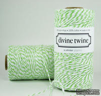 Хлопковый шнур от Divine Twine - Green Apple, 1 мм, цвет салатовый/белый, 1м