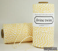 Хлопковый шнур от Divine Twine - Lemon, 1 мм, цвет желтый/белый, 1м