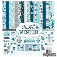 Набор бумаги от Echo Park - Hello Winter, 30х30 см, 12 листов + 2 листа наклеек