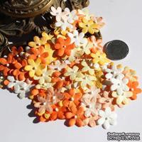 Плоские цветочки, микс цветов: оранжевый, 1,5 см