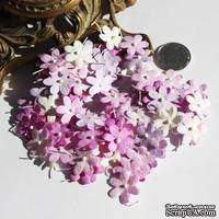 Плоские цветочки, микс цветов: сиреневый, 1,5 см