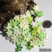 Плоские цветочки, микс цветов: зеленый, 1,5 см, ок.100 шт.