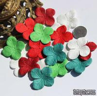 Гортензия, микс цветов: красный, зеленый, белый, 3,2 см, 20 шт.