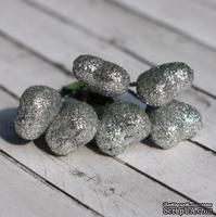 Сердечки серебряные в глиттере от Scrapberry's, 6шт