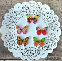 Пуговицы декоративные от Hobby&You - Дерево. Бабочки, 28х21 мм , 5 шт