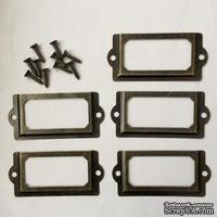 Рамки металлические декоративные от ScrapBerry's , 7 на 3,2 см, Бронза, 5 шт