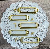 Рамки металлические декоративные с шурупами - Золото, 5 шт.