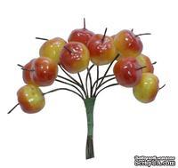 Яблочки желто-красные от Scrapberry's, 12 шт