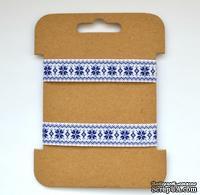 Декоративная репсовая тесьма от ScrapBerry's - Синий орнамент. Размеры:  1,5 см, 3 м.