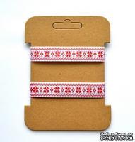 Декоративная репсовая тесьма от ScrapBerry's - Красный орнамент. Размеры:  1,5 см, 3 м.