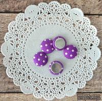 Фишки тканевые , фиолетовые в горошек, 1,3 см 5шт