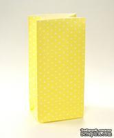 Набор подарочных пакетов от ScrapBerry's - Горошек -Жёлтый,  190х95х65 мм, 100 г/м2, 5 шт