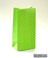 Набор подарочных пакетов от ScrapBerry's - Горошек зеленый, 190х95х65мм, 100 г/м2, 5 шт