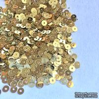 Пайетки круглые плоские 4 мм, золотые, 6 г