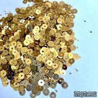 Пайетки круглые плоские 4 мм, светлое золото, 6 г