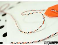 Хлопковый шнур от Divine Twine - Halloween, 1 мм, цвет оранжевый/черный/белый, 1м