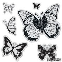 Набор резиновых штампов Hampton Art - Butterflies, с оснасткой