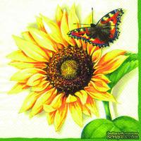 """Салфетка """"Подсолнух и бабочка"""", цвет кремовый, 33х33см, 1 шт."""