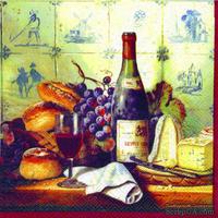 "Салфетка ""Вино,виноград,сыр,выпечка"", размер: 33х33 см, 1 шт."