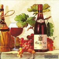 """Салфетка для декупажа """"Вино,виноград"""", размер: 33х33 см"""