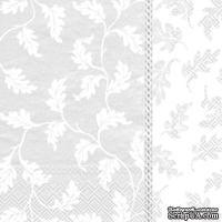 "Салфетка для декупажа ""Филенка из вьюнка"", цвет фона: белый, размер: 33х33 см"