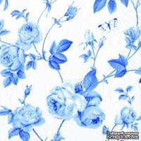 """Салфетка для декупажа """"Плетение ветвей и розы"""", цвет фона: белый и голубой, размер: 33х33 см"""