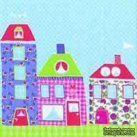 """Салфетка """"Сказочные домики"""", цвет голубой, 33х33см, 1 шт."""