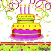 "Салфетка для декупажа ""Яркий торт"", цвет фона: белый, размер: 33х33 см"