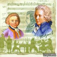 """Салфетка для декупажа """"Моцарт, ноты"""", цвет фона: кремовый, размер: 33х33 см"""