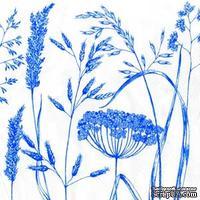 "Салфетка для декупажа ""Дикие травки"", цвет фона: синий на белом, размер: 33х33 см"
