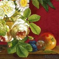 "Салфетка для декупажа ""Натюрморт: розы, фрукты"", цвет фона: красный, размер: 33х33 см"