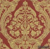 "Салфетка для декупажа ""Узор ампир"", цвет фона: золото на красном, размер: 33х33 см"