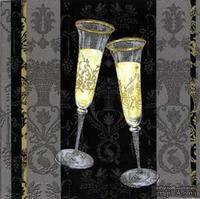 """Салфетка для декупажа """"Бокалы свадебные"""", цвет фона: черный, размер: 33х33 см"""